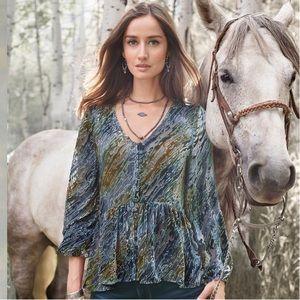 SUNDANCE Velvet Riches Silk Blend Burnout Top